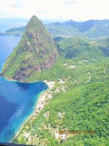 Louise Heppell Petit Piton + Sugar Beach from Helicopter